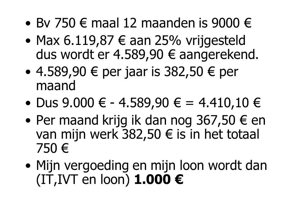 Bv 750 € maal 12 maanden is 9000 € Max 6.119,87 € aan 25% vrijgesteld dus wordt er 4.589,90 € aangerekend.