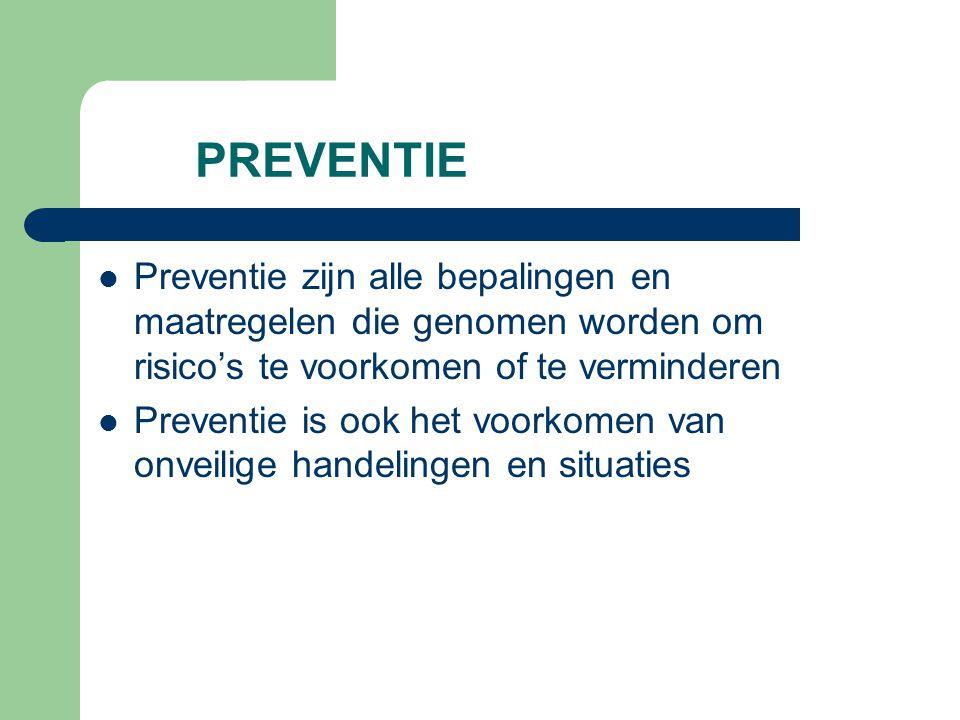 PREVENTIE Preventie zijn alle bepalingen en maatregelen die genomen worden om risico's te voorkomen of te verminderen Preventie is ook het voorkomen v