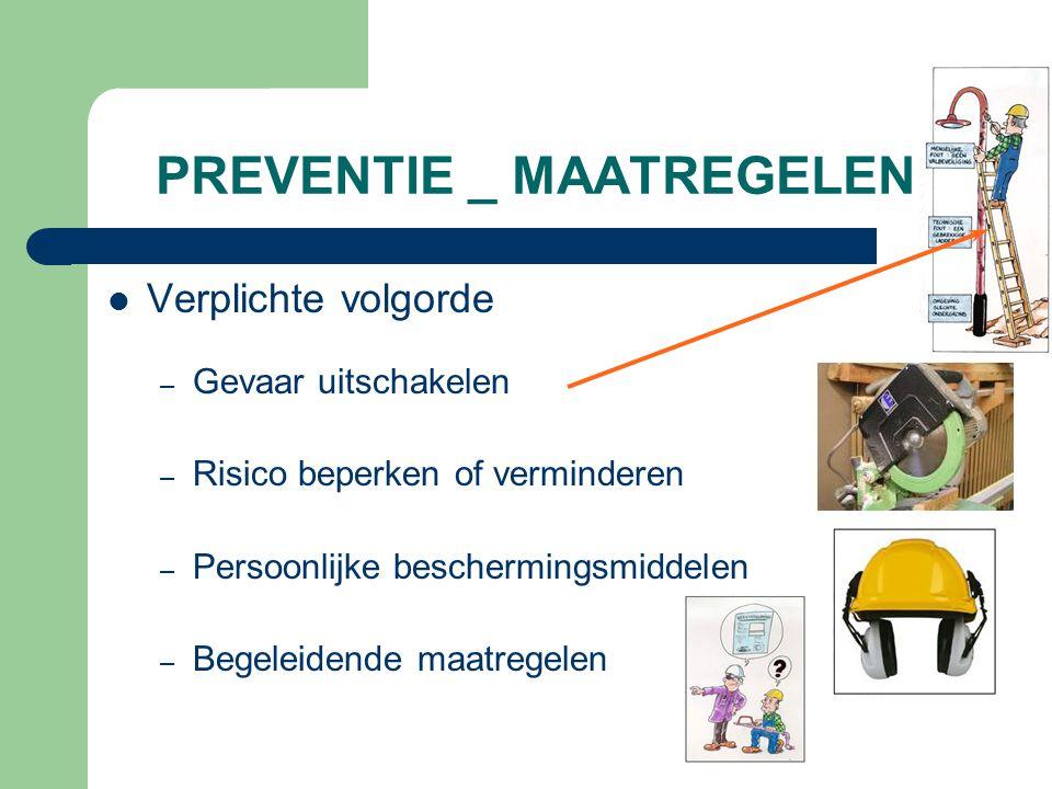 PREVENTIE _ MAATREGELEN Verplichte volgorde – Gevaar uitschakelen – Risico beperken of verminderen – Persoonlijke beschermingsmiddelen – Begeleidende