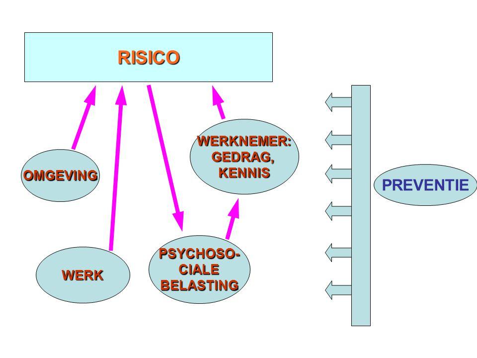 RISICO OMGEVING WERK PSYCHOSO-CIALEBELASTING WERKNEMER:GEDRAG,KENNIS PREVENTIE