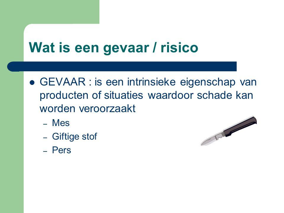 Wat is een gevaar / risico RISICO : – een gevaar wordt een risico als er blootstelling mogelijk is.