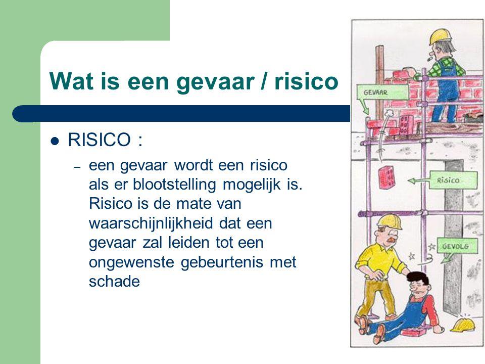 Wat is een gevaar / risico RISICO : – een gevaar wordt een risico als er blootstelling mogelijk is. Risico is de mate van waarschijnlijkheid dat een g