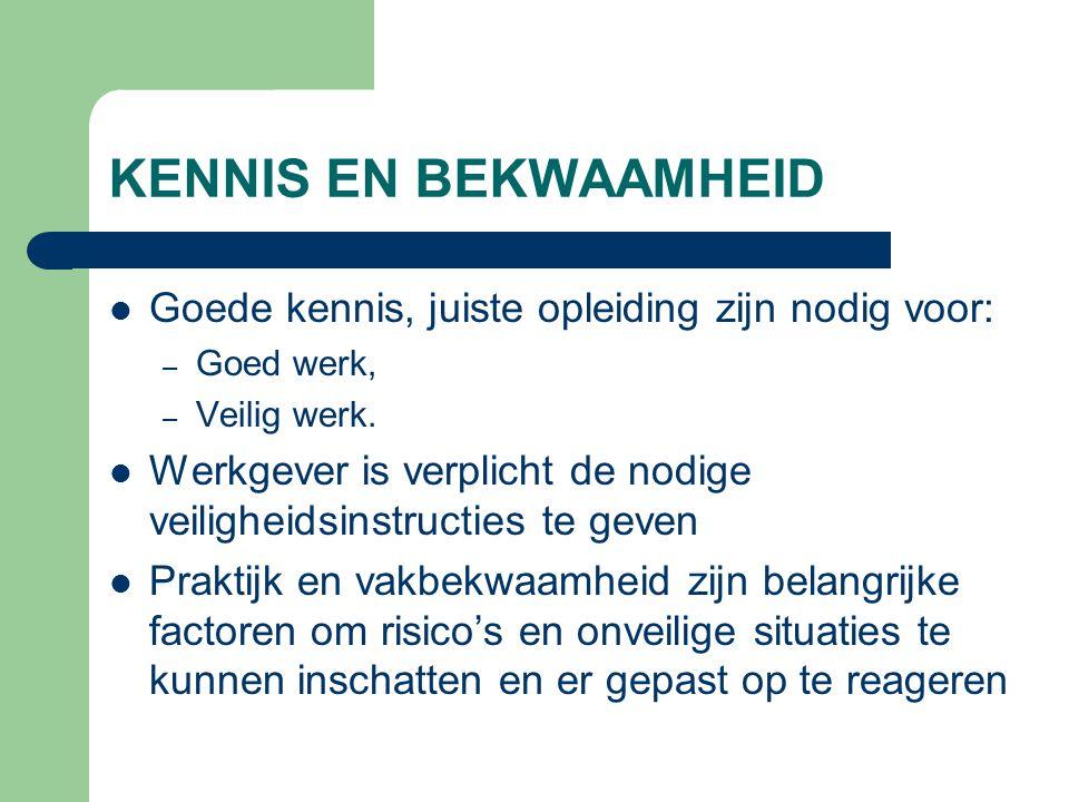 KENNIS EN BEKWAAMHEID Goede kennis, juiste opleiding zijn nodig voor: – Goed werk, – Veilig werk. Werkgever is verplicht de nodige veiligheidsinstruct