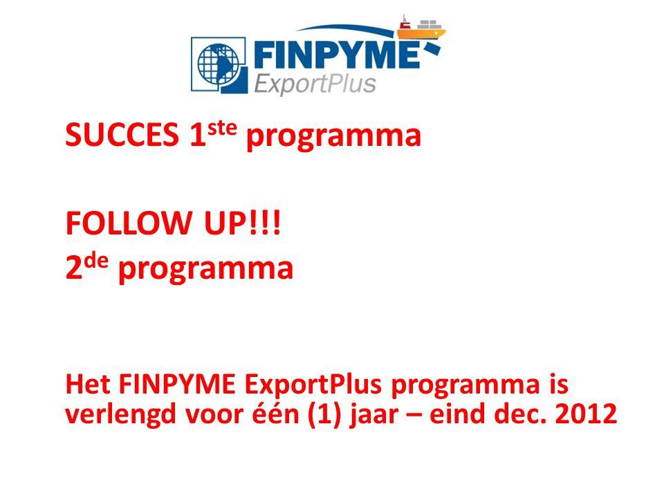 SUCCES 1 ste programma FOLLOW UP!!! 2 de programma Het FINPYME ExportPlus programma is verlengd voor één (1) jaar – eind dec. 2012
