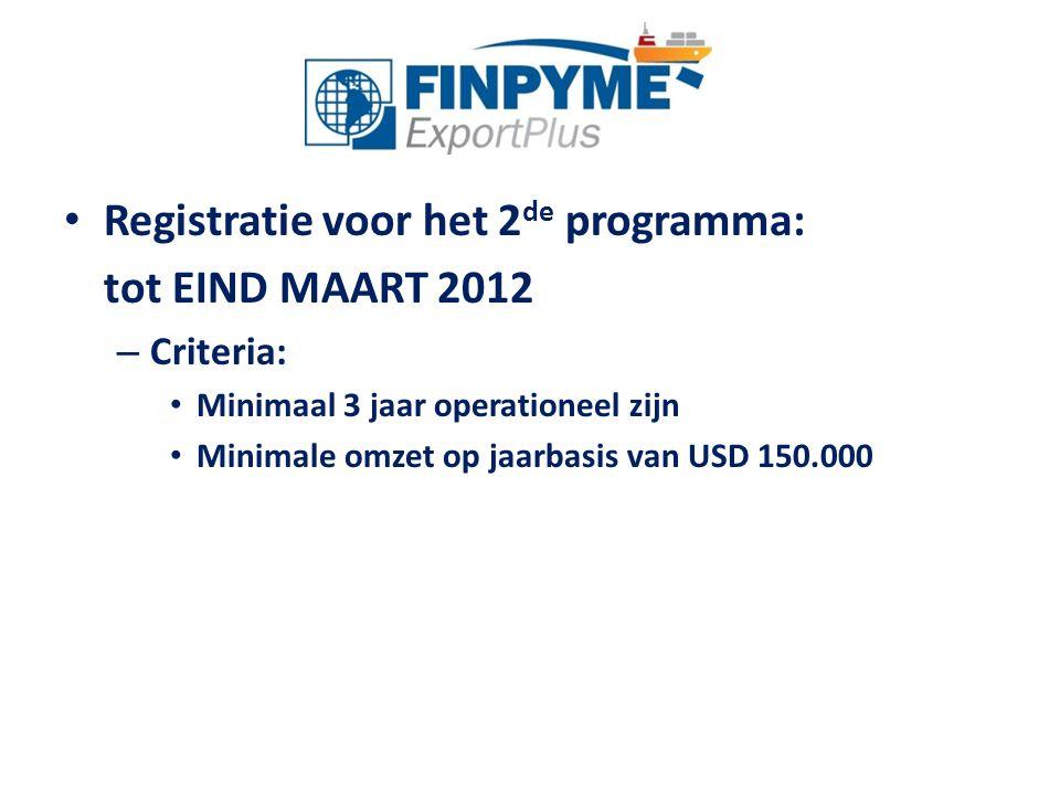 Registratie voor het 2 de programma: tot EIND MAART 2012 – Criteria: Minimaal 3 jaar operationeel zijn Minimale omzet op jaarbasis van USD 150.000