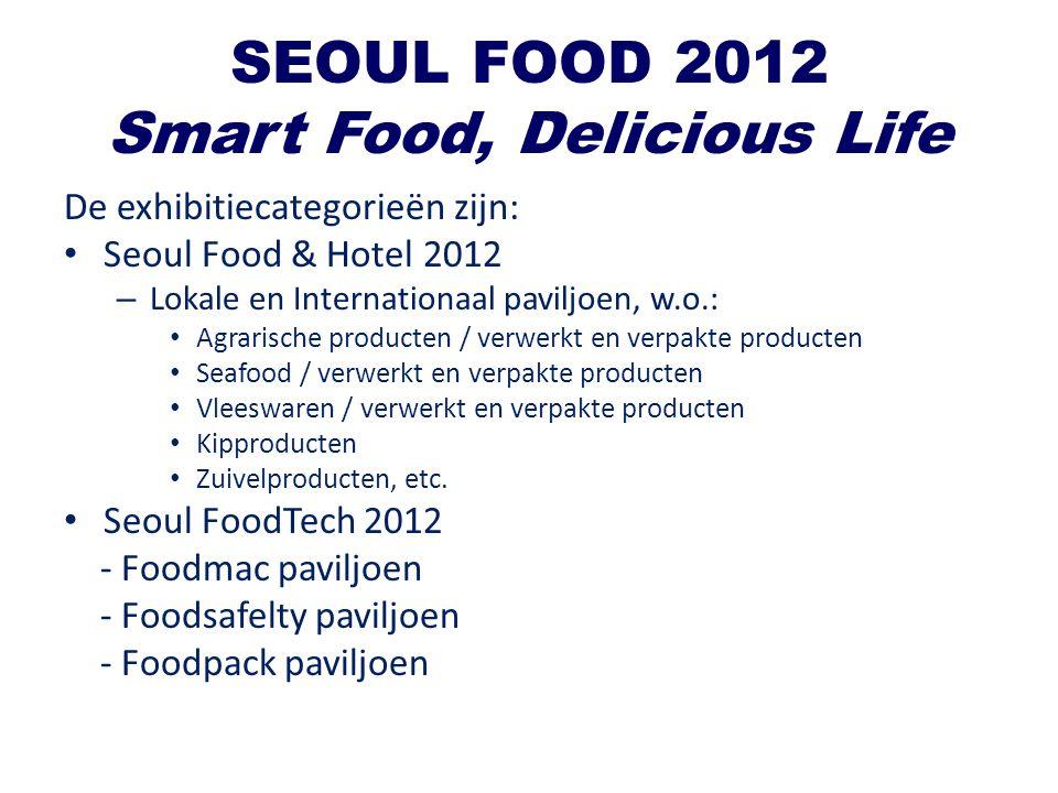 SEOUL FOOD 2012 Smart Food, Delicious Life De exhibitiecategorieën zijn: Seoul Food & Hotel 2012 – Lokale en Internationaal paviljoen, w.o.: Agrarisch