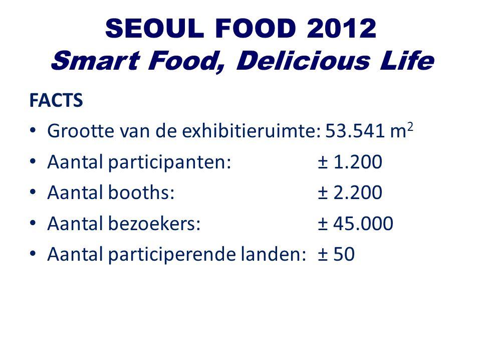 SEOUL FOOD 2012 Smart Food, Delicious Life FACTS Grootte van de exhibitieruimte: 53.541 m 2 Aantal participanten:± 1.200 Aantal booths:± 2.200 Aantal