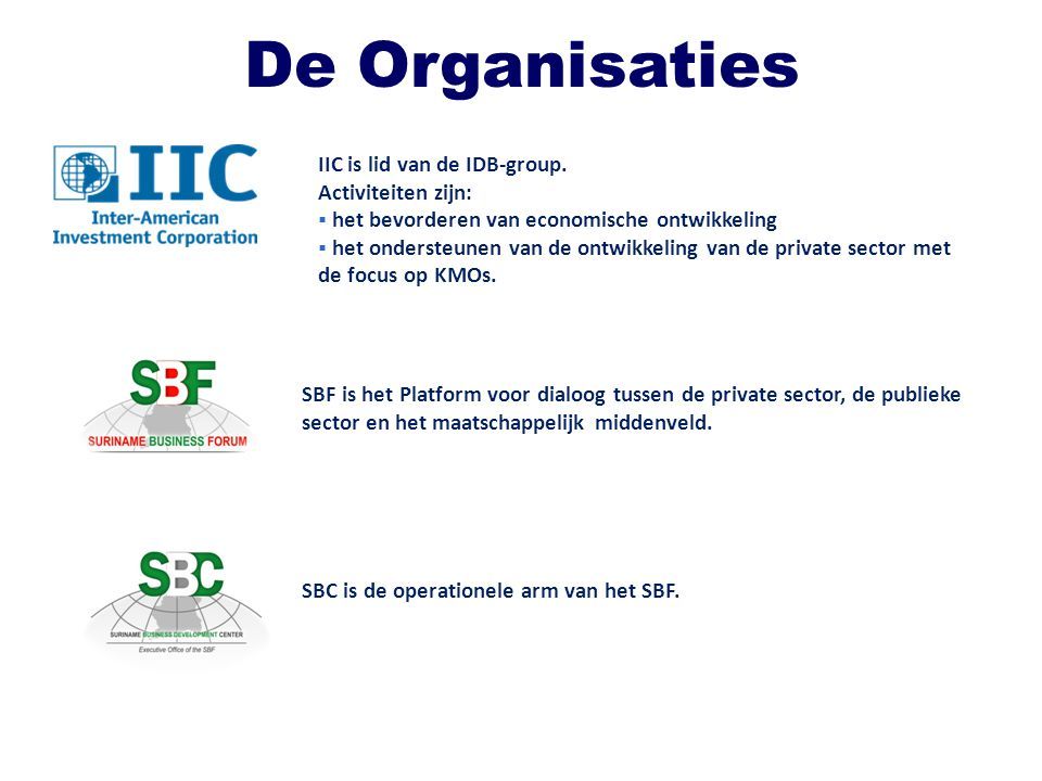 TENTATIEVE Programma uiteenzetting: Groeps- en Individuele Technische Assistentie Validation workshops: – Export strategy – Road towards certification – Improving the value chain and implementing good practices Innovative business strategies Suriname Tourism trade mark: standards and certification process Hygiene code for the Agriculture sector – subsector vegetables Fishery sector: – Inventory operational equipment / international standards and quality systems Animal husbandry: – International standards and quality systems Wood processing sector: – Technical / Operational development on finished products KOTRA (Korea Trade-Investment Promotion Agency): HRM / Corporate Governance / Financial management / other topic