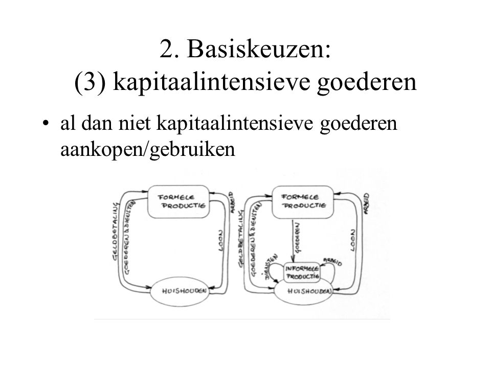 2. Basiskeuzen: (3) kapitaalintensieve goederen al dan niet kapitaalintensieve goederen aankopen/gebruiken
