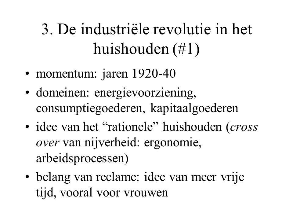 3. De industriële revolutie in het huishouden (#1) momentum: jaren 1920-40 domeinen: energievoorziening, consumptiegoederen, kapitaalgoederen idee van