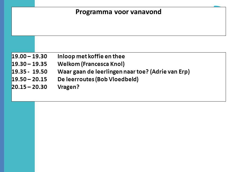 Programma voor vanavond 19.00 – 19.30 Inloop met koffie en thee 19.30 – 19.35 Welkom (Francesca Knol) 19.35 - 19.50 Waar gaan de leerlingen naar toe?