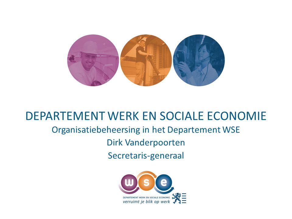 DEPARTEMENT WERK EN SOCIALE ECONOMIE Organisatiebeheersing in het Departement WSE Dirk Vanderpoorten Secretaris-generaal