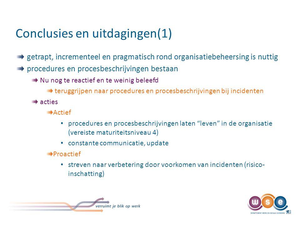 Conclusies en uitdagingen(1) getrapt, incrementeel en pragmatisch rond organisatiebeheersing is nuttig procedures en procesbeschrijvingen bestaan Nu n