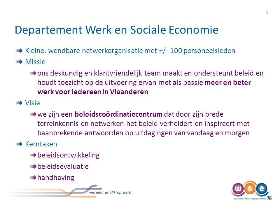 Departement Werk en Sociale Economie Kleine, wendbare netwerkorganisatie met +/- 100 personeelsleden Missie ons deskundig en klantvriendelijk team maa
