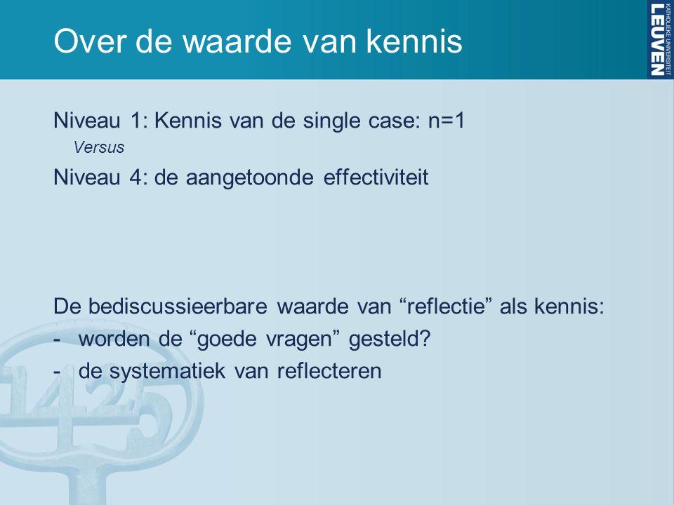 """Over de waarde van kennis Niveau 1: Kennis van de single case: n=1 Versus Niveau 4: de aangetoonde effectiviteit De bediscussieerbare waarde van """"refl"""
