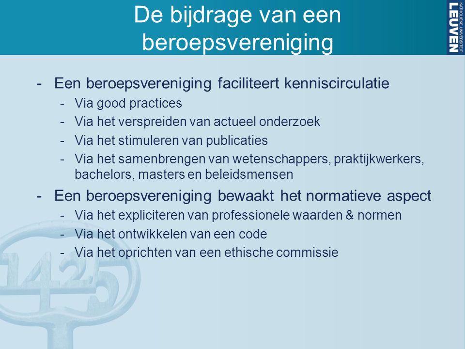 De bijdrage van een beroepsvereniging -Een beroepsvereniging faciliteert kenniscirculatie -Via good practices -Via het verspreiden van actueel onderzo