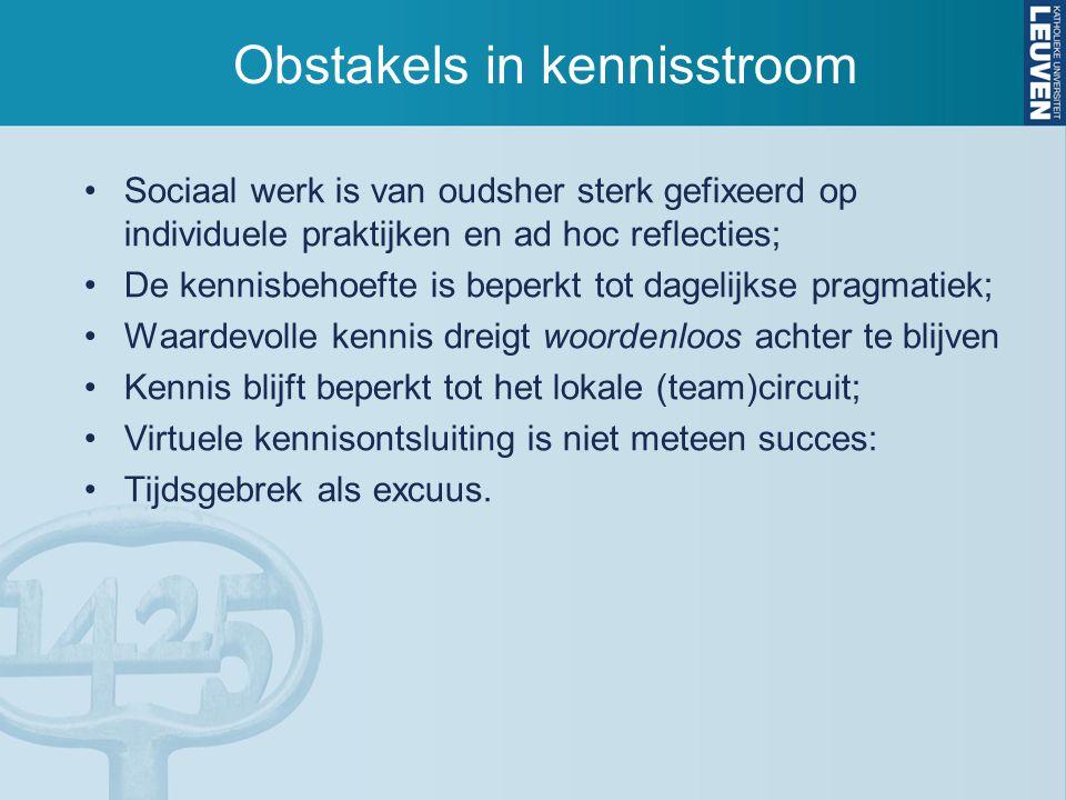 Obstakels in kennisstroom Sociaal werk is van oudsher sterk gefixeerd op individuele praktijken en ad hoc reflecties; De kennisbehoefte is beperkt tot