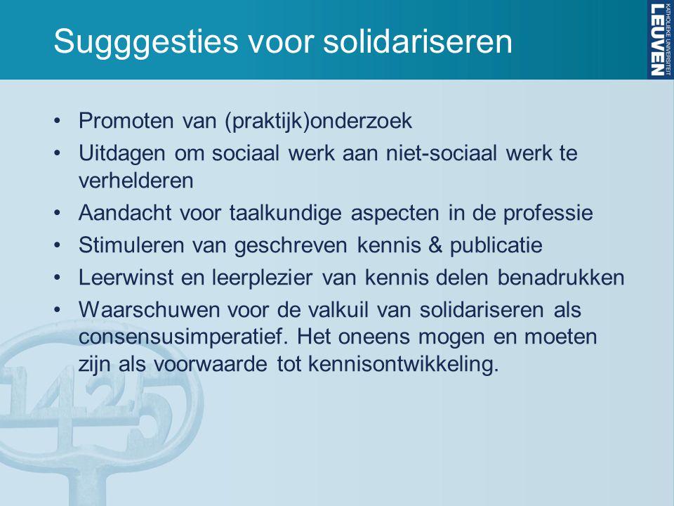 Sugggesties voor solidariseren Promoten van (praktijk)onderzoek Uitdagen om sociaal werk aan niet-sociaal werk te verhelderen Aandacht voor taalkundig