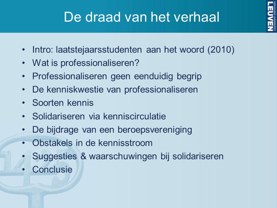 De draad van het verhaal Intro: laatstejaarsstudenten aan het woord (2010) Wat is professionaliseren? Professionaliseren geen eenduidig begrip De kenn