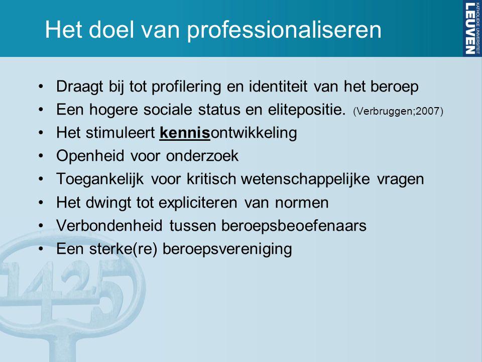 Het doel van professionaliseren Draagt bij tot profilering en identiteit van het beroep Een hogere sociale status en elitepositie. (Verbruggen;2007) H