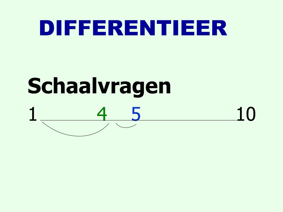DIFFERENTIEER Schaalvragen 1 4 5 10