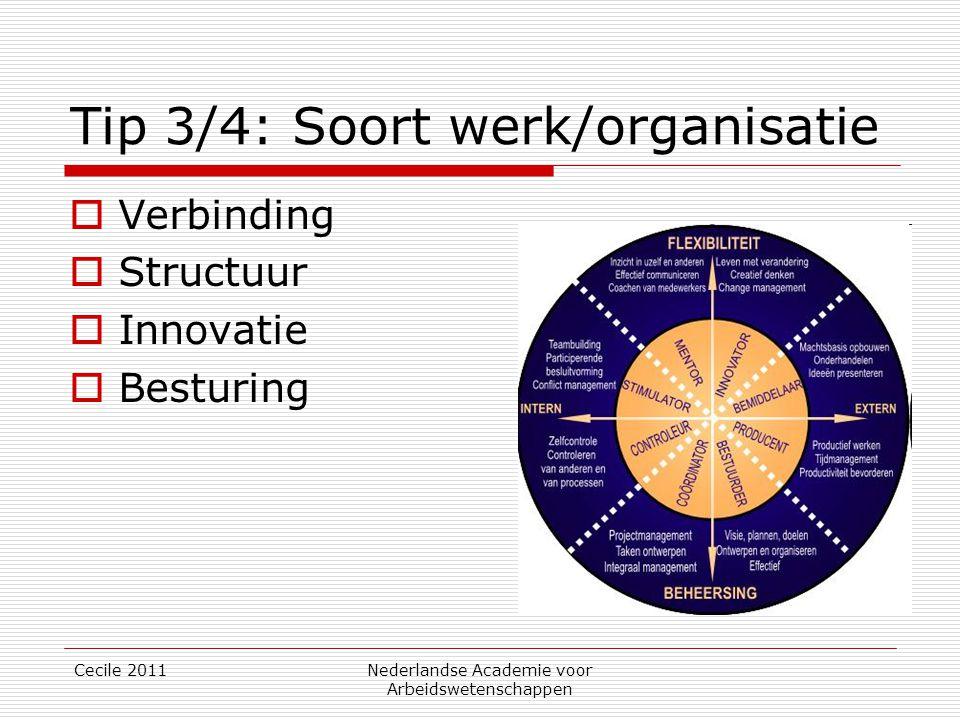 Tip 3/4: Soort werk/organisatie  Verbinding  Structuur  Innovatie  Besturing Cecile 2011Nederlandse Academie voor Arbeidswetenschappen