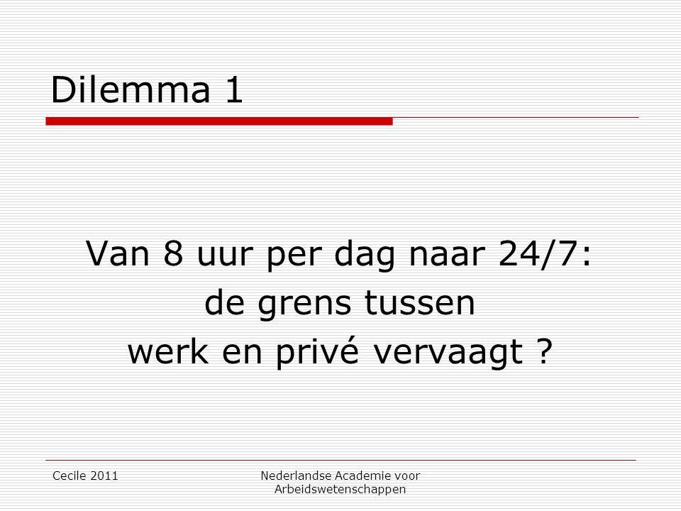 Cecile 2011Nederlandse Academie voor Arbeidswetenschappen Dilemma 1 Van 8 uur per dag naar 24/7: de grens tussen werk en privé vervaagt