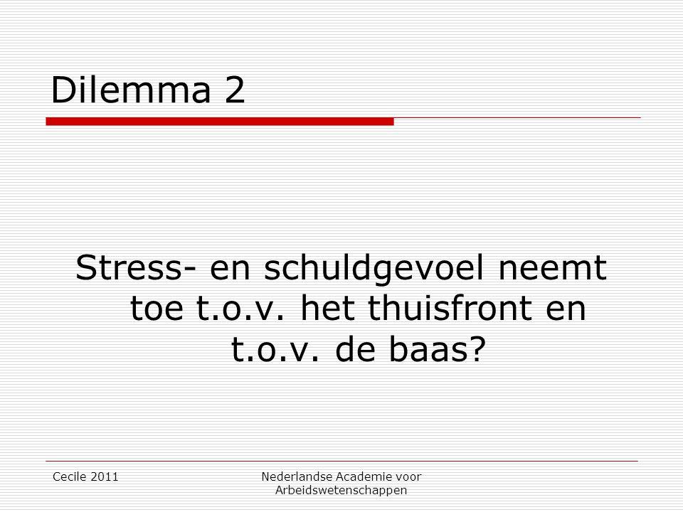 Cecile 2011Nederlandse Academie voor Arbeidswetenschappen Dilemma 2 Stress- en schuldgevoel neemt toe t.o.v. het thuisfront en t.o.v. de baas?