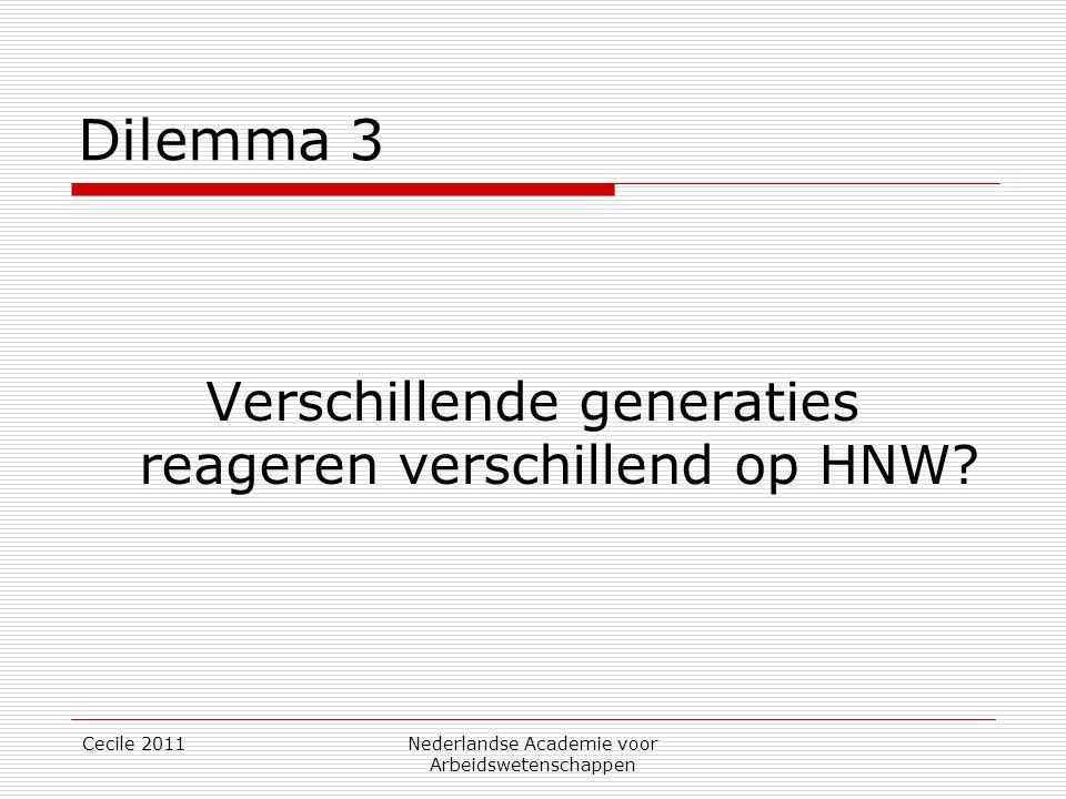 Cecile 2011Nederlandse Academie voor Arbeidswetenschappen Dilemma 3 Verschillende generaties reageren verschillend op HNW