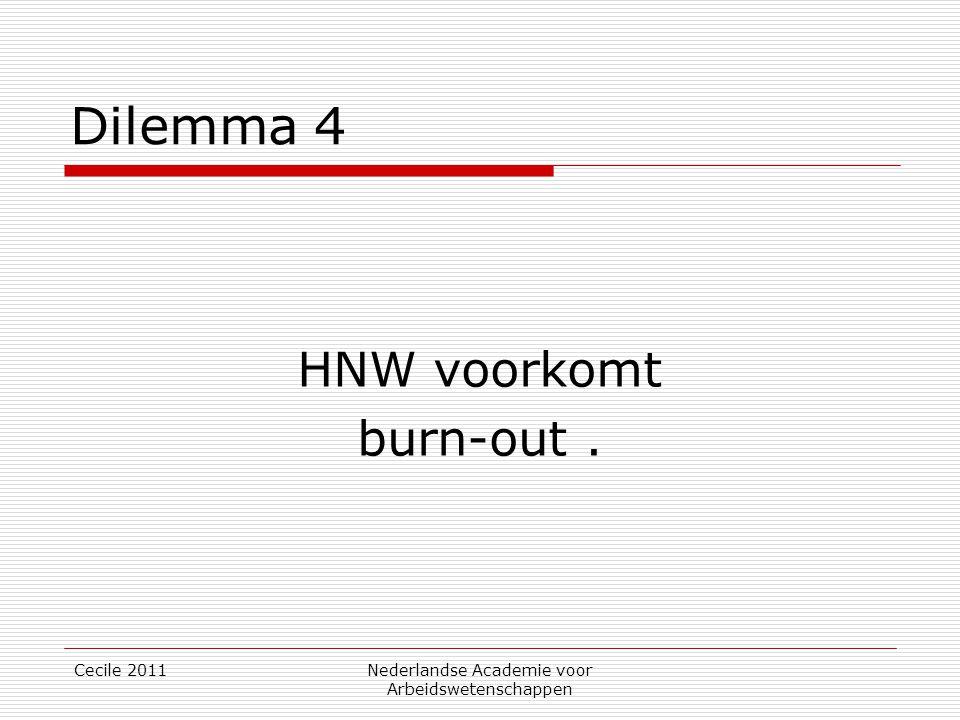 Cecile 2011Nederlandse Academie voor Arbeidswetenschappen Dilemma 4 HNW voorkomt burn-out.