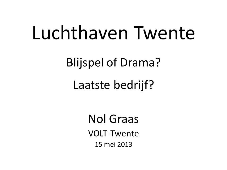 Luchthaven Twente Blijspel of Drama? Laatste bedrijf? Nol Graas VOLT-Twente 15 mei 2013