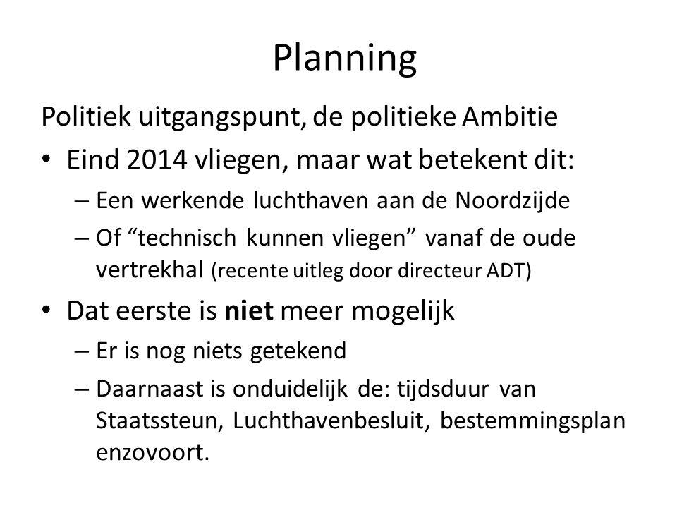 Planning Technisch kunnen vliegen: – Uitleg hiervan is: Alle vergunningen geregeld waardoor er gevlogen zou kunnen worden.