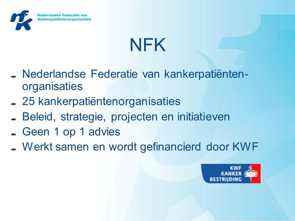 NFK Nederlandse Federatie van kankerpatiënten- organisaties 25 kankerpatiëntenorganisaties Beleid, strategie, projecten en initiatieven Geen 1 op 1 ad