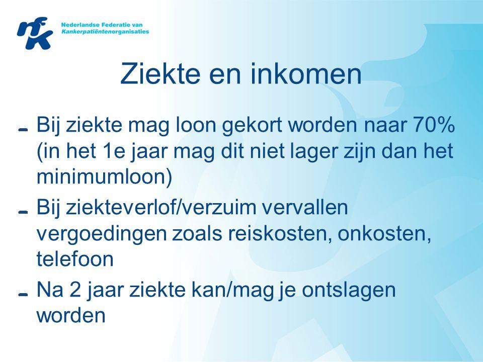 Ziekte en inkomen Bij ziekte mag loon gekort worden naar 70% (in het 1e jaar mag dit niet lager zijn dan het minimumloon) Bij ziekteverlof/verzuim ver
