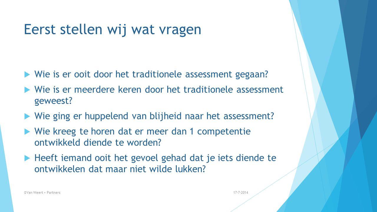Eerst stellen wij wat vragen  Wie is er ooit door het traditionele assessment gegaan?  Wie is er meerdere keren door het traditionele assessment gew