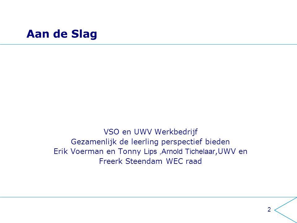 Aan de Slag VSO en UWV Werkbedrijf Gezamenlijk de leerling perspectief bieden Erik Voerman en Tonny Lips,Arnold Tichelaar,UWV en Freerk Steendam WEC raad 2