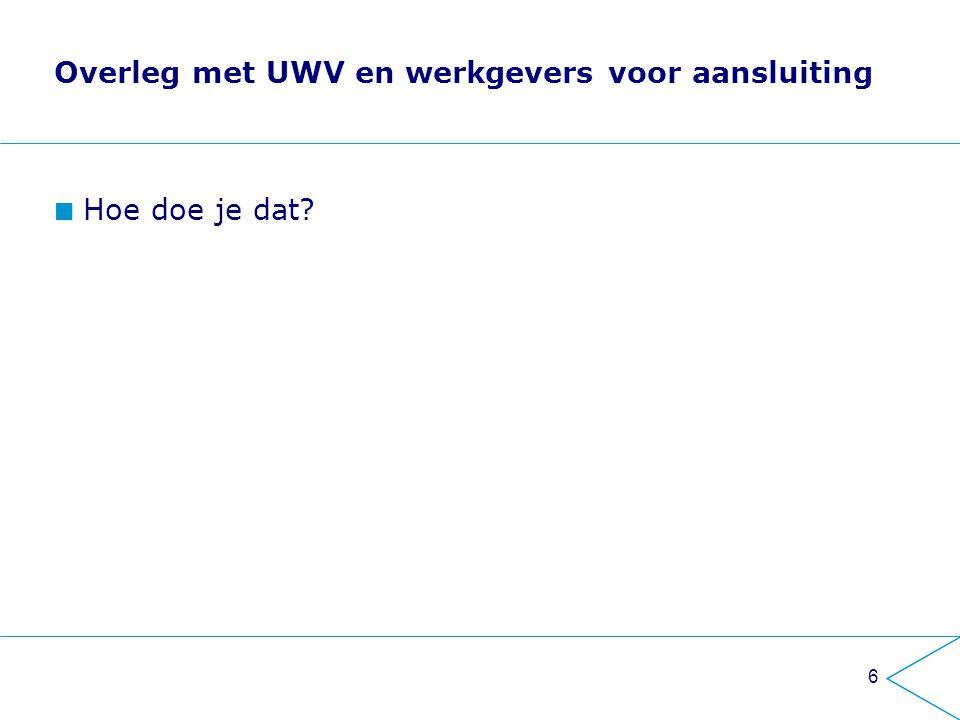 Overleg met UWV en werkgevers voor aansluiting Hoe doe je dat? 6