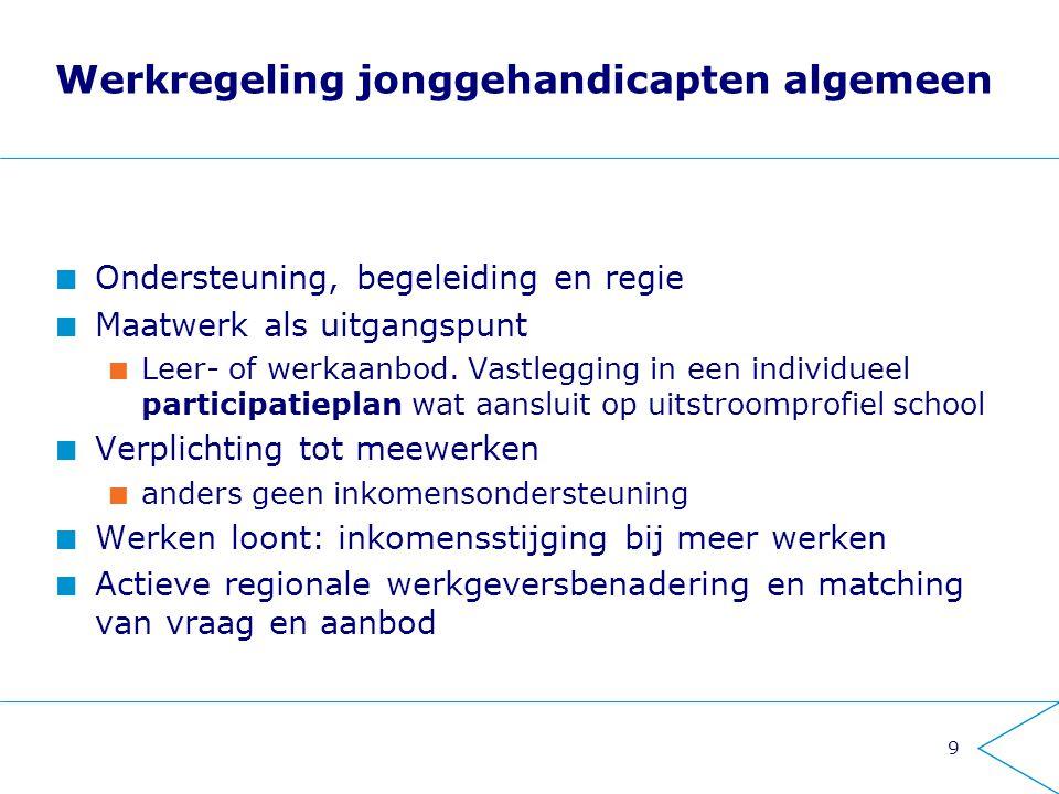 9 Werkregeling jonggehandicapten algemeen Ondersteuning, begeleiding en regie Maatwerk als uitgangspunt Leer- of werkaanbod. Vastlegging in een indivi