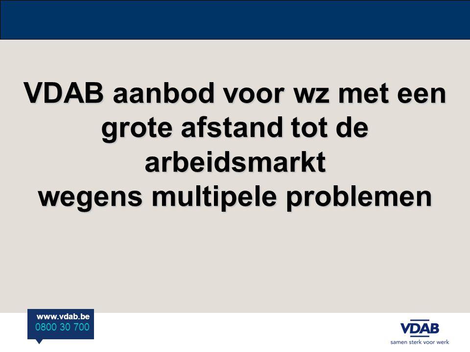 www.vdab.be 0800 30 700 VDAB aanbod voor wz met een grote afstand tot de arbeidsmarkt wegens multipele problemen