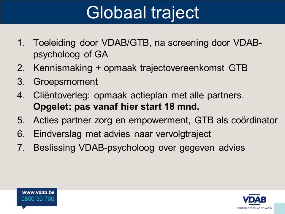 www.vdab.be 0800 30 700 Globaal traject 1.Toeleiding door VDAB/GTB, na screening door VDAB- psycholoog of GA 2.Kennismaking + opmaak trajectovereenkom