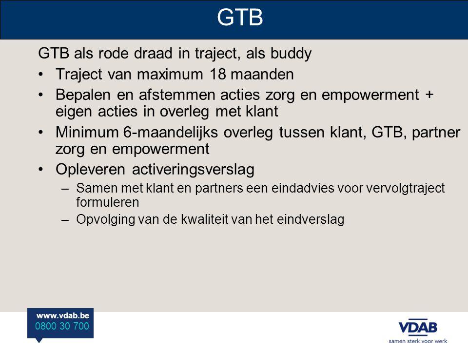 www.vdab.be 0800 30 700 GTB GTB als rode draad in traject, als buddy Traject van maximum 18 maanden Bepalen en afstemmen acties zorg en empowerment +
