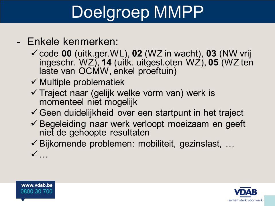 www.vdab.be 0800 30 700 Doelgroep MMPP -Enkele kenmerken: code 00 (uitk.ger.WL), 02 (WZ in wacht), 03 (NW vrij ingeschr. WZ), 14 (uitk. uitgesl.oten W