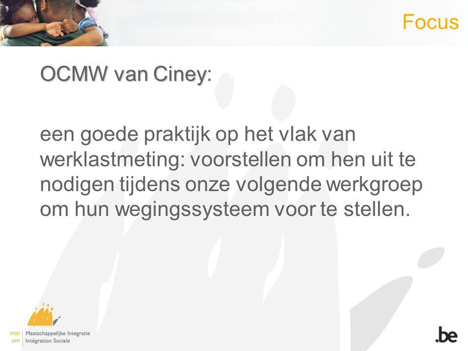 Focus OCMW van Ciney OCMW van Ciney: een goede praktijk op het vlak van werklastmeting: voorstellen om hen uit te nodigen tijdens onze volgende werkgroep om hun wegingssysteem voor te stellen.