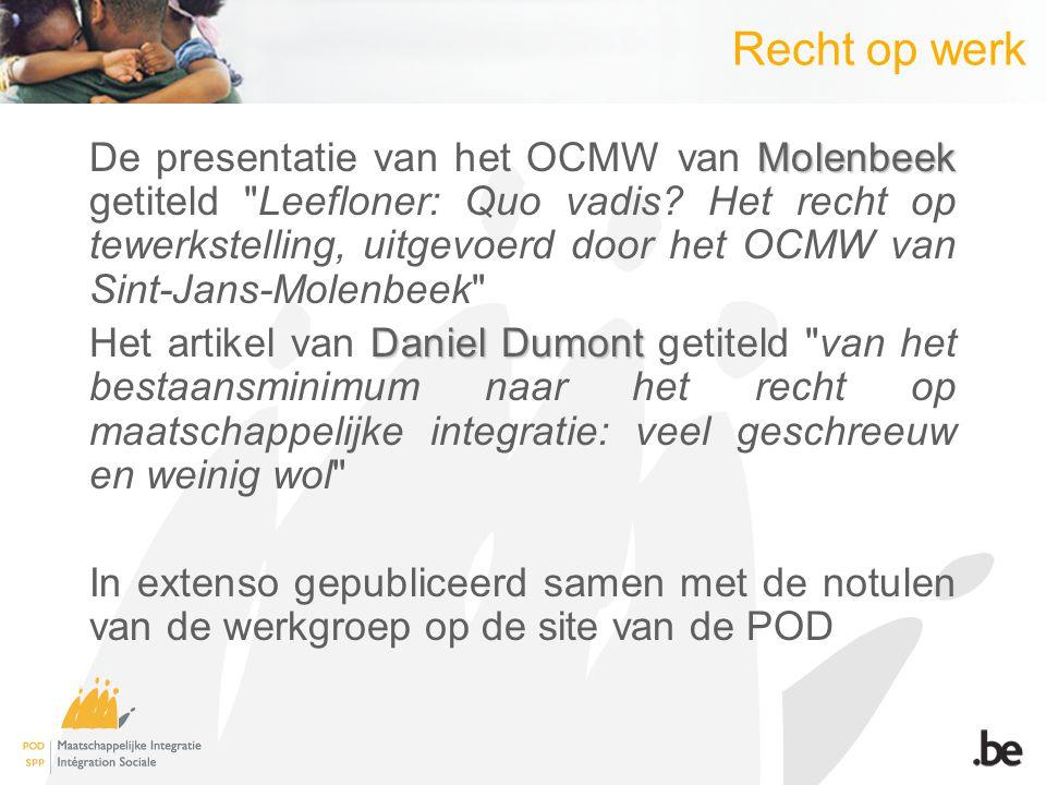 Recht op werk Molenbeek De presentatie van het OCMW van Molenbeek getiteld