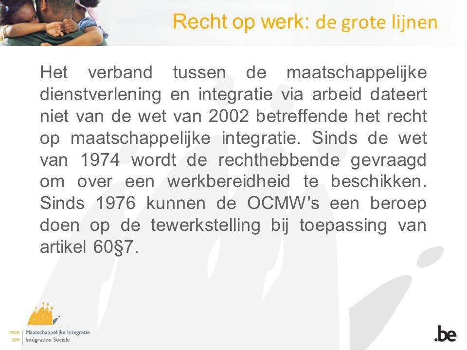 Recht op werk: de grote lijnen Het verband tussen de maatschappelijke dienstverlening en integratie via arbeid dateert niet van de wet van 2002 betreffende het recht op maatschappelijke integratie.