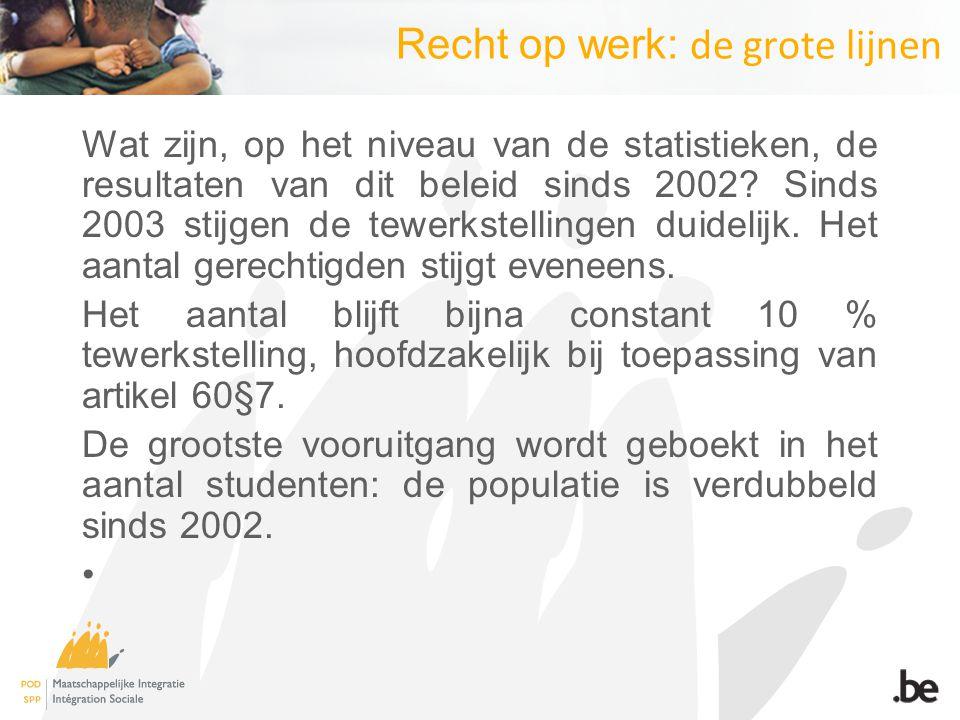 Recht op werk: de grote lijnen Wat zijn, op het niveau van de statistieken, de resultaten van dit beleid sinds 2002? Sinds 2003 stijgen de tewerkstell