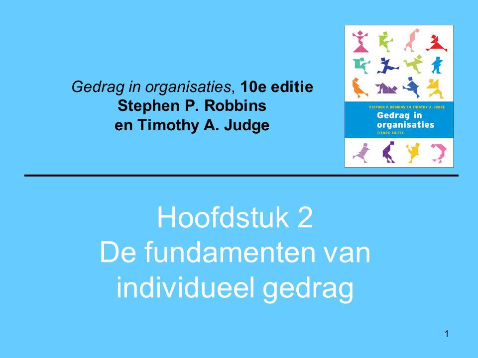 1 Hoofdstuk 2 De fundamenten van individueel gedrag Gedrag in organisaties, 10e editie Stephen P. Robbins en Timothy A. Judge