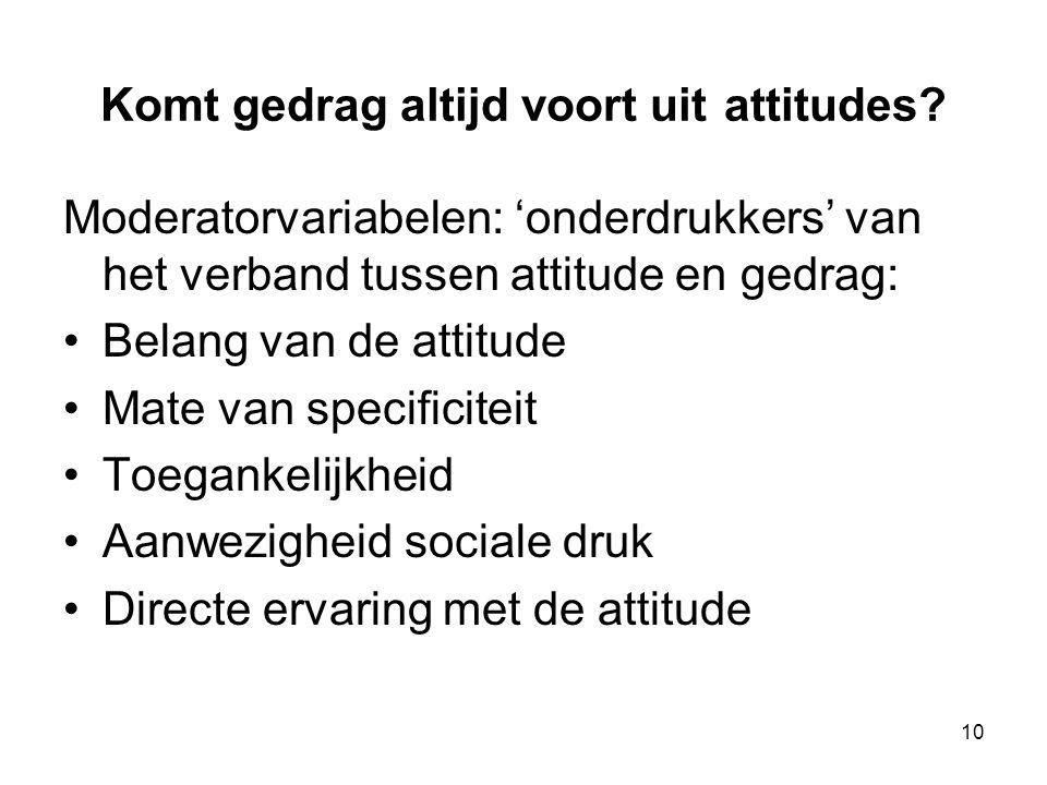 10 Komt gedrag altijd voort uit attitudes? Moderatorvariabelen: 'onderdrukkers' van het verband tussen attitude en gedrag: Belang van de attitude Mate