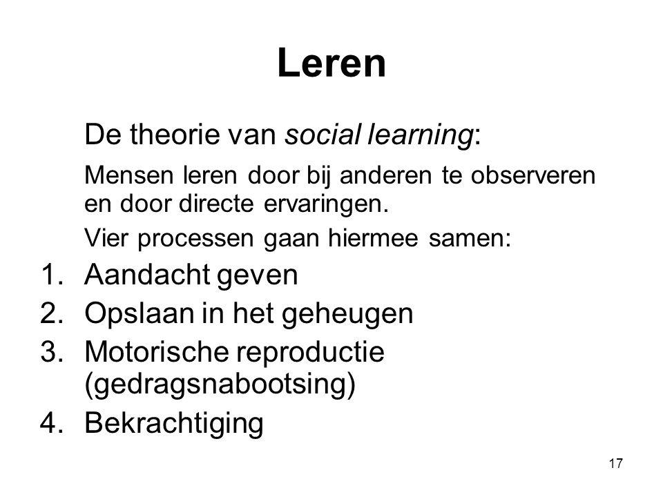 17 Leren De theorie van social learning: Mensen leren door bij anderen te observeren en door directe ervaringen. Vier processen gaan hiermee samen: 1.