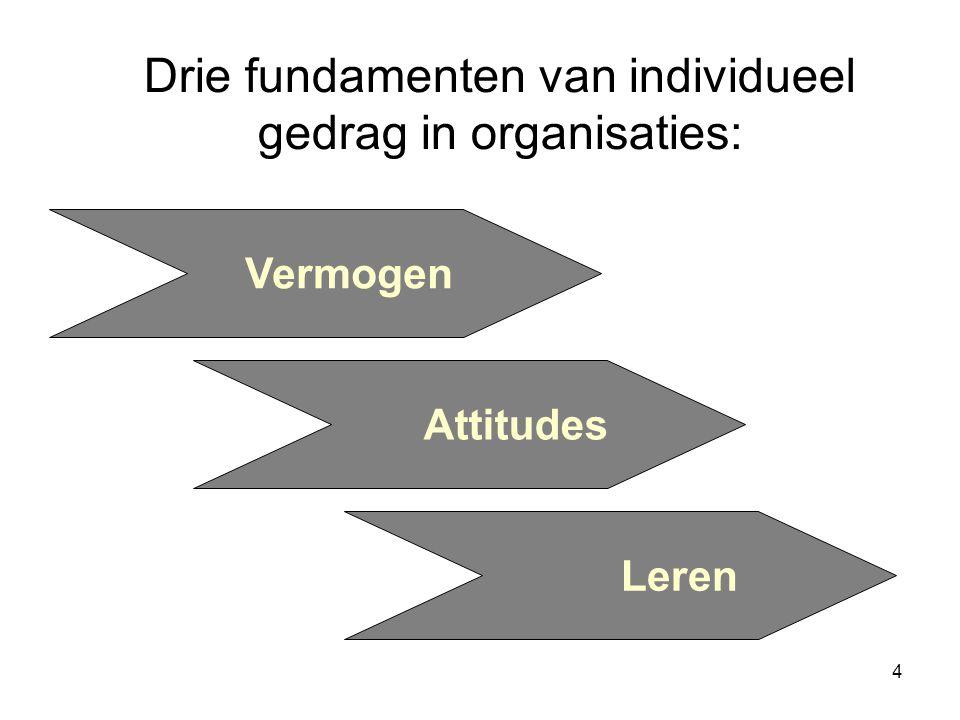 4 Drie fundamenten van individueel gedrag in organisaties: Vermogen Attitudes Leren